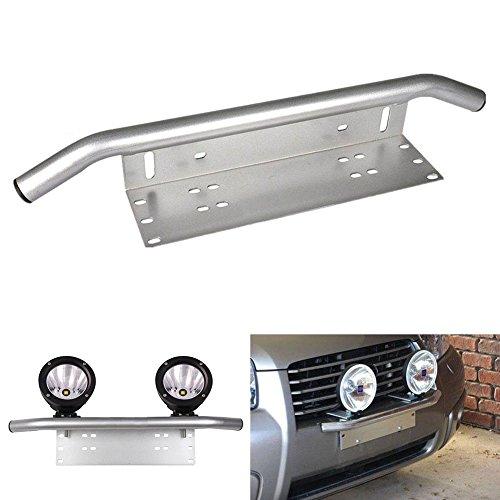 Triclicks Chrom Universal Aluminiumlegierung Stoßfänger Kennzeichenhalterung Nummernschildhalter Arbeitslampe Halter für Auto, Affroad, SUV, Pickup, Lkw