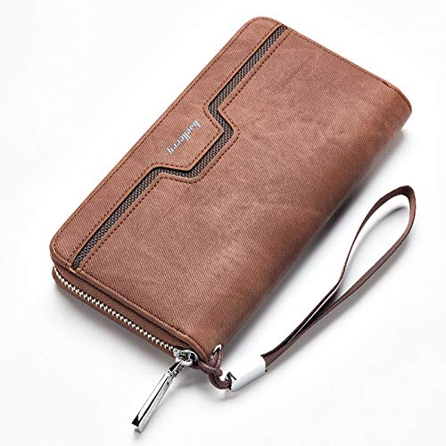 Men Wallets Long Purse Clutch PU Leather Zipper Solid Credit Card Holder Vintage Organizer with Wrist Strap