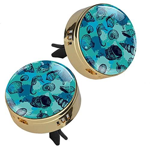 GORDESC Agua Azul Mar Caballo Conchas Estrellas De Mar Cangrejo Coche Perfume Ambientador Coche Clip De Ventilación Fragancia Coche Olor Ambientador Difusor De Perfume