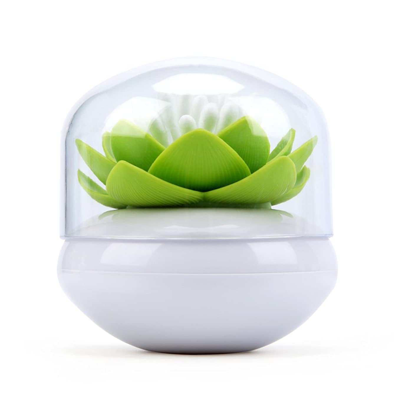 Bloss Cotton Swab Holder Q-Tips Holder Lotus Toothpick Holder Small Toothpick Case Toothpicks Organizer Bathroom Vanity Canister -Green