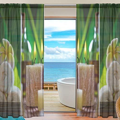 Emoya transparente Vorhänge mit Spa-Motiv, natürliche Gardinenstangen, Halb-Voile-Vorhänge, dekorativ für Schlafzimmer, 140 x 198 cm, 2 Paneele, Textil, multi, 2 x 55