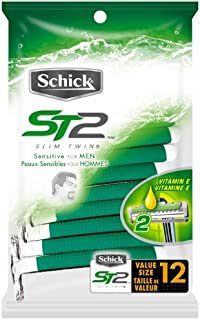 Schick ST2 Disposable Razor, Sensitive for Men, 12-Count Packages (Pack of 3)