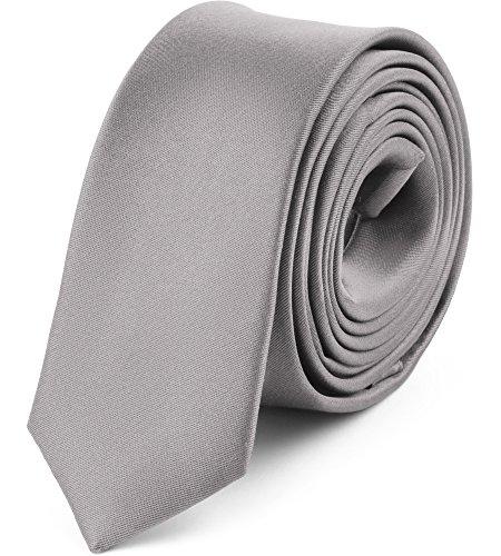 Ladeheid Herren Schmale Krawatte SP-5 (150cm x 5cm, Silber)