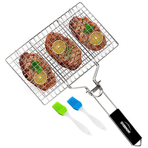 Overmont Griglia Grill per BBQ Barbecue Rete Cesto 34 * 22cm con 2 Spazzola Rimovibile Pieghevole in Acciaio Inox 304, con Maniglia di Legno per Ester