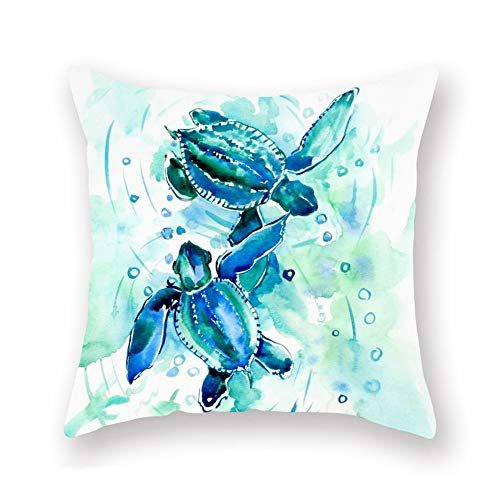 Asamour Sea Turtle Throw Pillow Covers Super Soft Coastal Ocean Watercolor Sea Animal Turtle Cushion Cover 18''x18'' Decorative Standard Square Accent Pillow Cases for Sofa Couch Bedroom (Blue)