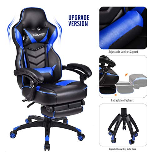 Video Gaming Chair Racing Office - PU Leather High Back Ergonomic Adjustable Swivel Executive Computer Desk Task For Adults Large Size With Footrest,Headrest and Lumbar Support (Black+blue) blue chair gaming