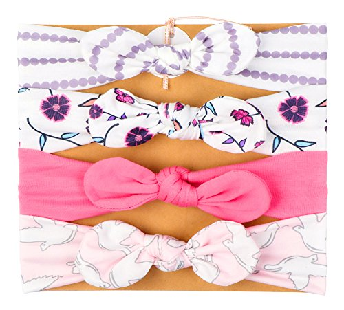 Vellette Bebé Cinta Para El Pelo Infantil Algodón Sólido Mariposa Niñas Banda Para La Cabeza Diadema Elástica Turbante 4PCS