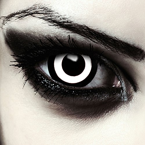 Farbige Mini Sclera Kontaktlinsen 17mm Weiß Schwarze Halloween Zombie Kostüm Farblinsen + Gratis Kontaktlinsenbehälter (Zombie Doom)