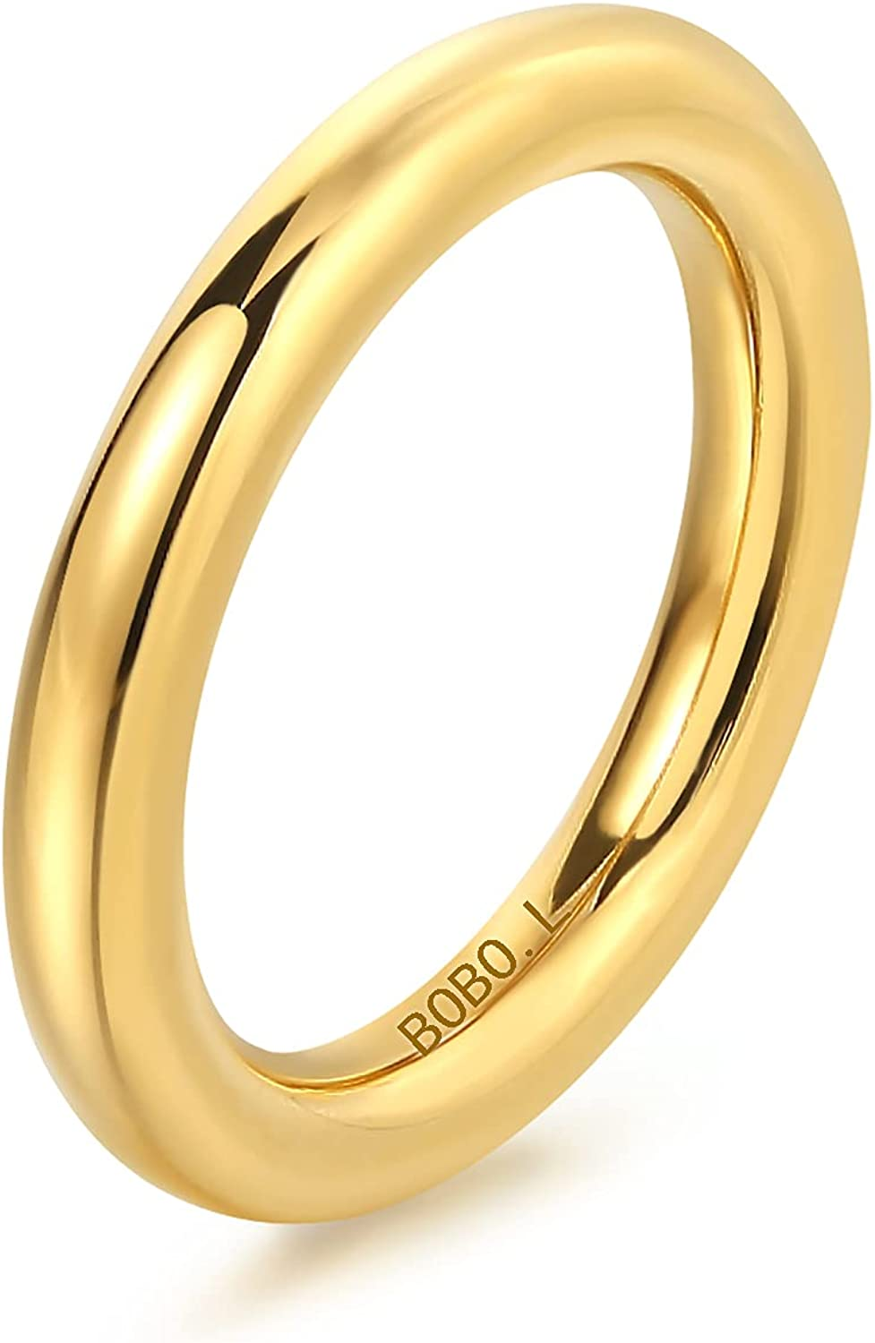 BOBOLOVER 14K Gold Filled 3mm Rings for Women Girls Stacking Bands Thumb Ring Plain Dome Comfort Fit Statement Round Thick Ring Size 5 to 10