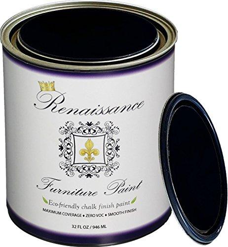 Retique It Chalk Finish Paint by Renaissance - Non Toxic, Eco-Friendly Chalk Furniture & Cabinet Paint - 32 oz (Quart), Midnight Black