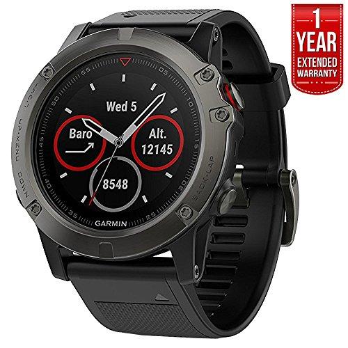 Garmin Fenix 5X Sapphire Multisport 51mm GPS Watch - Slate Gray with Black Band (010-01733-00) + 1 Year Extended Warranty (Renewed)