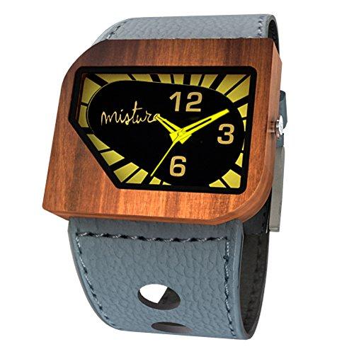 Mistura Avgreyyel avanti Pui legno grigio giallo neon orologio