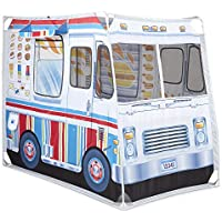 Melissa & Doug Food Truck Fabric Play Tent Playhouse and Storage Tote, Ice Cream on 1 Side, BBQ on The Other