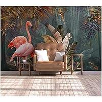 Iusasdz カスタム壁紙3D北欧モダンミニマリスト熱帯植物の森フラミンゴテレビ背景壁壁画壁紙-200X140Cm