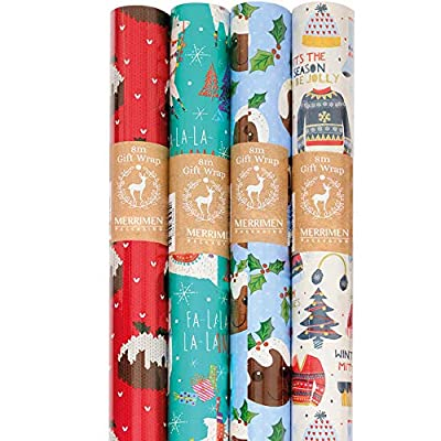 MERRIMEN 4pack 8M Rolls of Christmas Gift Wrap Traditional Christmas Pudding, Llama, Holly Wrapping Paper