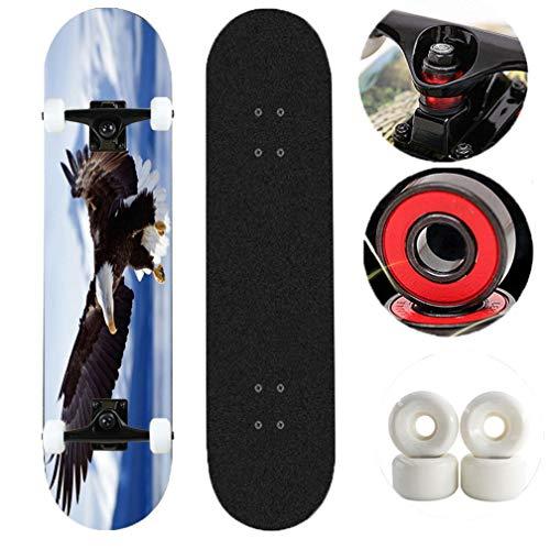 Tortoiseshell Skateboard Komplett Cruiser/Skateboarddecks 31 Zoll Deck Anfänger Skateboard- Adler fliegen in den Himmel (Color : Black)