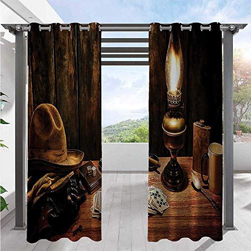 Adorise Blackout Curtains Mystic Night in Hotel Room Dallas with Lantern Nightstand Table and Poker Card Waterproof Indoor/Outdoor Curtains Create A Comfy Homey Environment Brown W120 x L108 Inch
