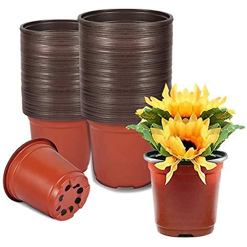 Pflanzentöpfe, 50 Stück Pflanzentopfe Klein, Garten Blumentopf 11cm Rund Kunststoff Anzuchttöpfe für Blumentopf für Sämlinge & Stecklinge