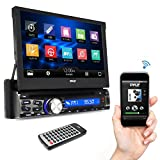 Pyle Single DIN In Dash Car Stereo Head Unit w/ 7inch Flip Out Touch Screen Monitor - Audio Video Receiver System with Microphone, Radio, Bluetooth, CD DVD Player, MP3, USB, Micro SD Reader - PLDT87BT