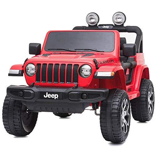 BAKAJI Auto Elettrica Bambini Jeep Wrangler Rubicon 12V Fuoristrada con Sedile in Pelle Fari a LED Lettore MP3 USB SD Bluetooth Luci Suoni Realistici e Telecomando Full Optional (Rosso)
