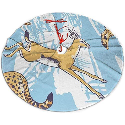 Egoa Kerstboom Rok Luipaard Cheetah Kerstboom Rok Vakantie Een Fijne Decoratieve Partij Boom Rok Xmas Boom Rok 122cm