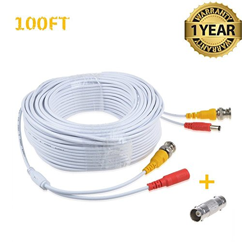 Accessory USA 100ft White BNC Video Power Cable Cord for Night Owl C-841-A10 1080P HD BNC Systems