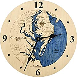 Sea & Soul Chesapeake Bay 3-D Nautical Wood Chart 12 Wall Clock, Handcrafted in The USA, Topographic Water Map Clock, Carved Lake Art Wall Clock, Coastal Décor (Deep Blue)