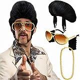 Conjunto de Disfraces Hippies Peluca Afro de Moda Collar de Gafas de Sol para Fiesta Temática de los Años 50/60/70 (Estilo D)