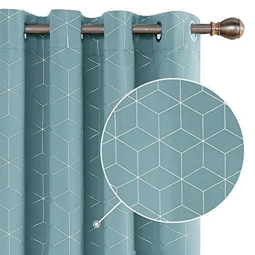 Deconovo Verdunkelungsvorhang Vorhänge mit Ösen Thermogardine Blickdichte Gardinen 229x117 cm Himmelblau 2er Set