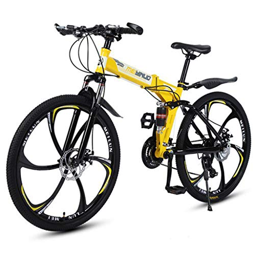 Ninasill Folding Mountain Bike 26Inch 21 Speed Double Disc Brakes Bicycle 6 Knife Wheel Mountain Bike for Adult Teens,US Shipping
