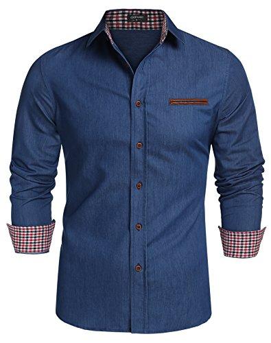 Coofandy Jeanshemden Herren regular fit Denim Shirt Langarmhemd Cowboy-Style Freizeit Hemden , Farbe - Skyblue , Gr. XXL