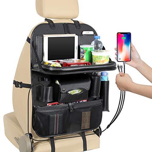 Viajes de Coches Accesorios Organizador, Coche del Asiento Trasero Organizador con Tablet Holder, Tabla de la Bandeja Plegable, Impermeable Material de la PU, 4USB Puerto de Carga