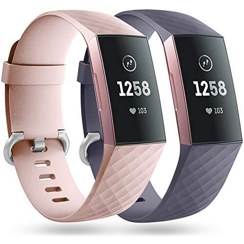 Faliogo 2 Pack Bracelet de Remplacement Compatible avec Fitbit Charge 3 Bracelet/Fitbit Charge 4 Bracelet, Bandes de Sport Classiques pour Femmes Hommes, Petit Rose/Bleu Gris