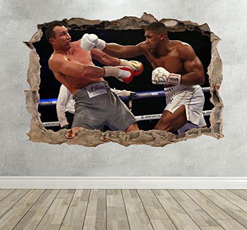 Wall Decor 247 3D Anthony Joshua vs Klitschko Boxing Smashed Breakout Wandaufkleber für Jungenzimmer, Querformat, 50 cm (B) x 35 cm (H)