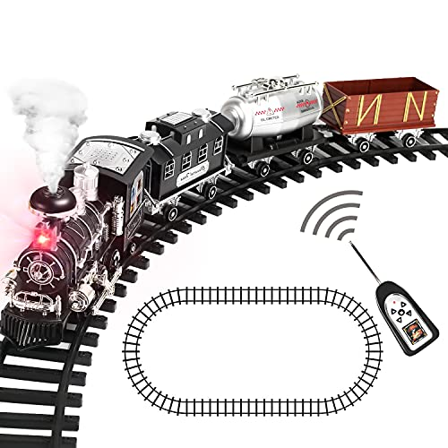 Remote Control Train Set with Smoke, Sound and Light, RC Train Toy Under Christmas Tree, Birthday Gift for Boys and Girls
