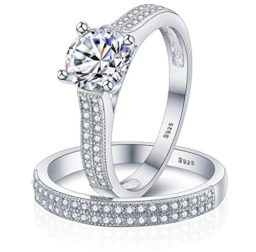 Sreema London 925 Sterling Silver Brilliant Round Cut Crystals Love Forever Eternity Engagement Wedding Rings for Women, Teenage Girls, Size UK M J L K N P Q R O S, with Gift Box, for Christmas (S)