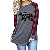 Geicyjiecy Womens Casual Plaid Long Sleeve Letter Print Mama Bear Print Shirt Tops Blouse T-Shirts (XXL, Red)