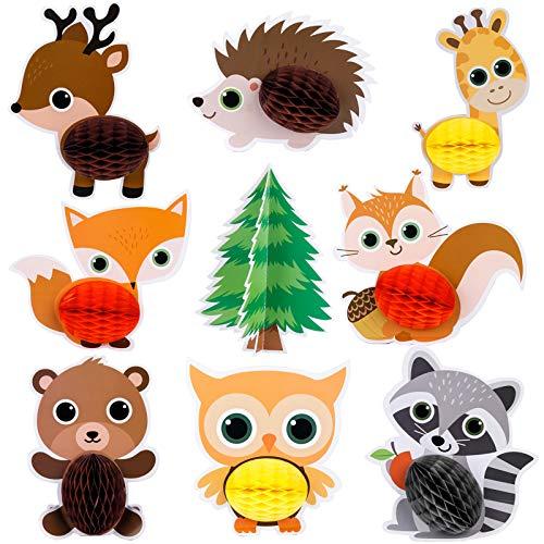 Mocoosy 12 piezas Woodland Party Supplies animales centros de mesa de nido de abeja para decoración de mesa, decoraciones de bolas de nido de abeja para niños, cumpleaños, fiesta de bienvenida al bebé