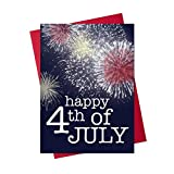 July 4th Greeting Cards - JF1503. Greeting Cards with Colorful Fireworks. Box Set Has 25 Greeting Cards and 26 Red Colored Envelopes.
