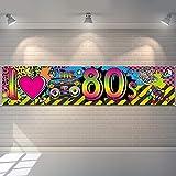 80s Party Dekorationen I Love 80s Banner, 1980er Jahre Hip Hop Zeichen Hintergrund Foto Stand Geburtstag Party Zubehör, 70,8 x 15,7 Zoll