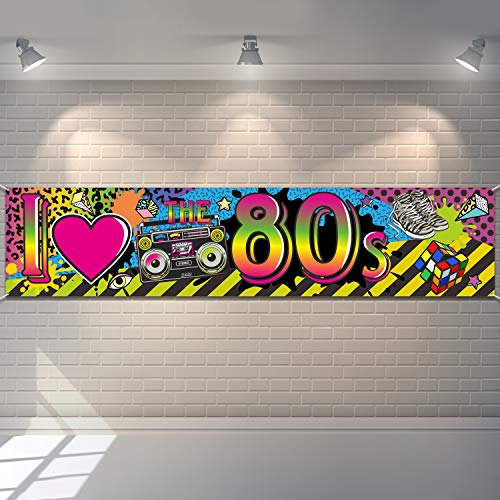 80's Hip Hop Party Banner Backdrop. Ideal for livening up a room or for a photo accessory. Includes a 13ft rope.