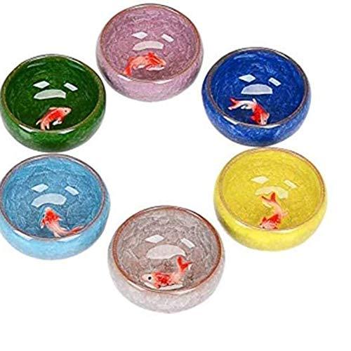 HELEN CURTAIN Sand-Tee-Topf Japanisch - Stil Cupsice Sprung Kleine Fische Kung Fu Tee-Keramik-Tassen Tee Schüssel Lila Sand Teekanne Bunte Six - Farbe, S,A