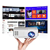 Portable WiFi Projector Android 7.1 Wireless Bluetooth Home Theater Mini Outdoor Projector 3000 Lumen 1080P Smart Projector Airplay Miracast for Smartphone Laptop PS4 Video Game Movie HDMI USB VGA