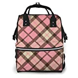 Shichangwei Diaper Bag Backpack Travel Bag Large Multifunction Waterproof Pink Plaid Stylish and Durable Nappy Bag for Baby Care School Backpack