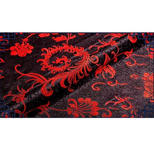 SQINAA Tela Brocade Phoenix Tail Patrn De Seda Satin Proceso Complicado Auspicioso Sedoso para Bolsas De Cortina Tapa De Almohada Mantel 75X100cm,Red on Black