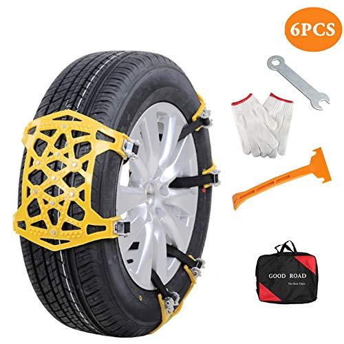 Bingqi 【New Update Aubingmotor Passenger Car Snow Chains 6 PCS Anti-Skid Cables Emergencies Chains for Cars/Trucks/Pickups/RV/SUV