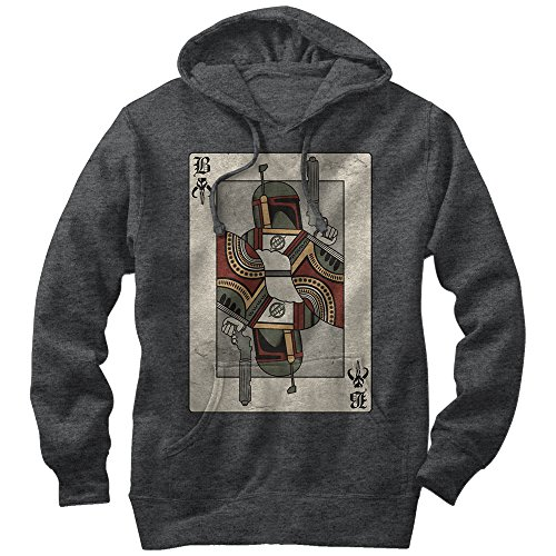 Star Wars Men's Boba Fett Playing Card Charcoal Heather Hoodie
