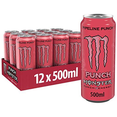 Monster Energy Pipeline Punch, Die perfekte Mixtur aus den besten Geschmacksnoten Hawaiis - Maracuja, Orange & Guave, Energy Drink Palette, EINWEG Dose (12 x 500 ml)
