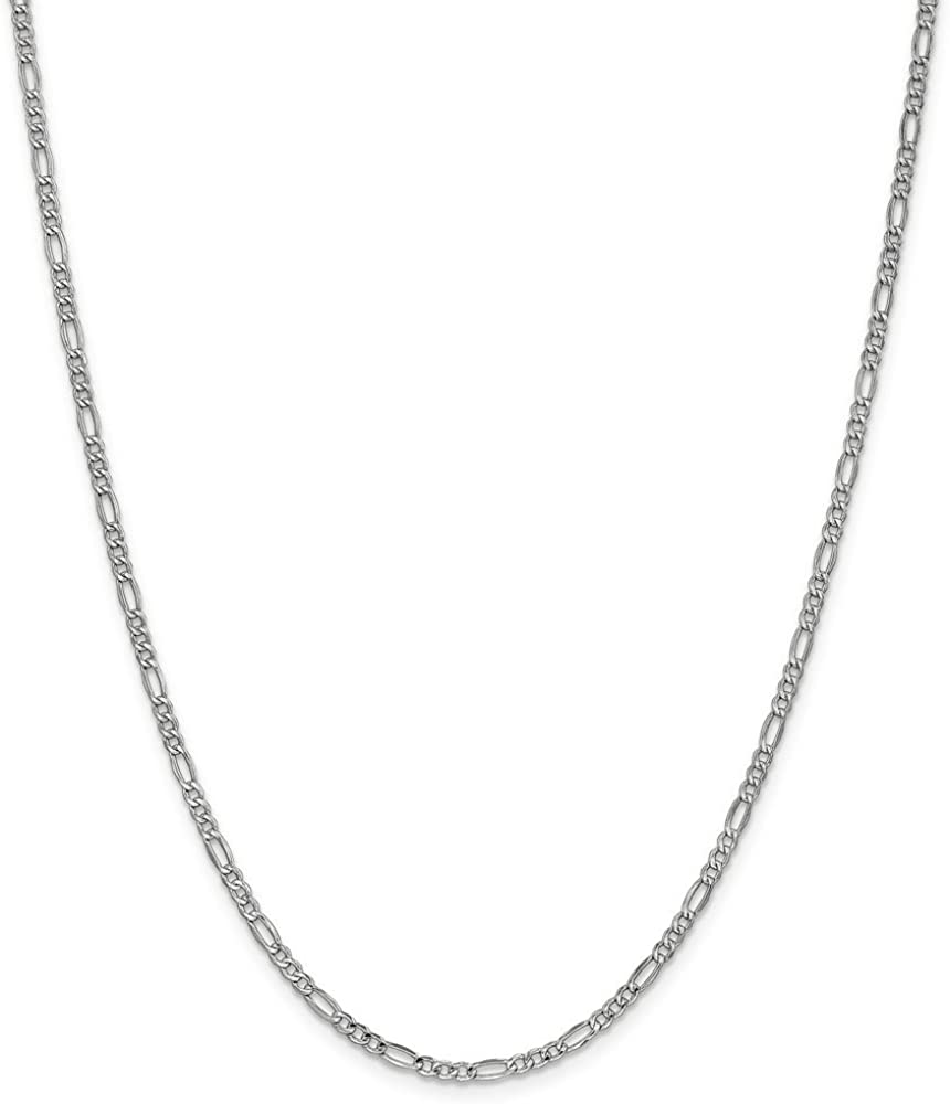 14k White Gold Figaro Chain Necklace - with Secure Lobster Lock Clasp (Width = 2mm)