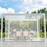 Persiana Enrollables Bambú Exterior / Jardín / Pérgola Persianas Enrollables Transparentes, Cortinas Enrollables Transparentes de PVC Grandes Impermeables, Cortina Impermeable a Prueba de Viento con A